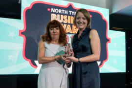 Helen Ross of Bright & Beautiful North Tyneside receives New Business Award from sponsor Carole White, TEDCO