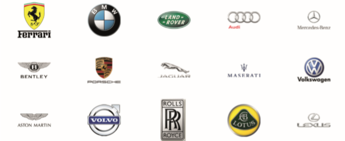 A collection of car logos serviced by an automotive franchise